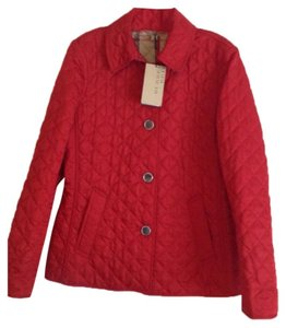 Burberry Red Red. Leather Jacket