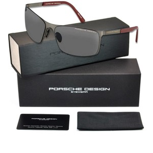 PORSCHE DESIGN P8566-A-V661 Rectangular Men's Gunmetal Frame Grey Lens Sunglasses