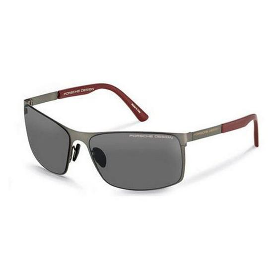 PORSCHE DESIGN P8566-A-V661 Rectangular Men's Gunmetal Frame Grey Lens Sunglasses Image 1