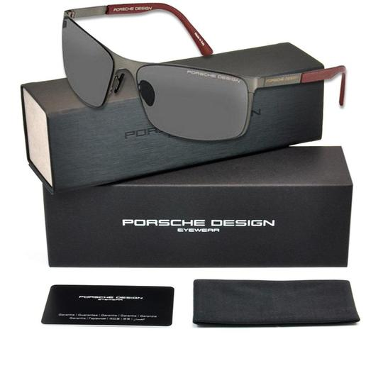 PORSCHE DESIGN P8566-A-V661 Rectangular Men's Gunmetal Frame Grey Lens Sunglasses Image 2