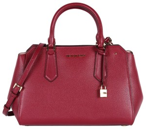 Michael Kors Pebbled Leather Gold Hardware Gold Structured Satchel in Cranberry