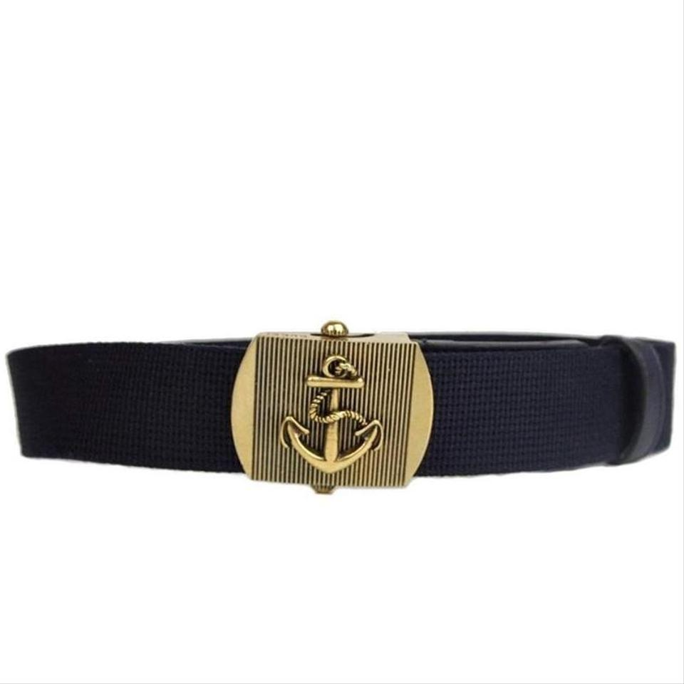 efe9f600e Gucci Navy Blue Fabric Brass Anchor Buckle Belt 375191 4009(80 / 32)  Groomsman ...