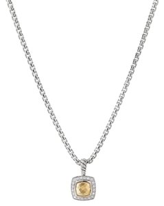"David Yurman GORGEOUS!! LIKE NEW!! David Yurman Albion 18 Karat Yellow Gold Bonded Dome Necklace Sterling Silver Dome measures 7mm x 7mm 0.17 carat total weight of Diamonds Pendant measures 11mm x 11mm Chain is Adjustable 16""- 17"" 100% Authentic Guaranteed!! Comes with Original David Yurman Pouch!!"