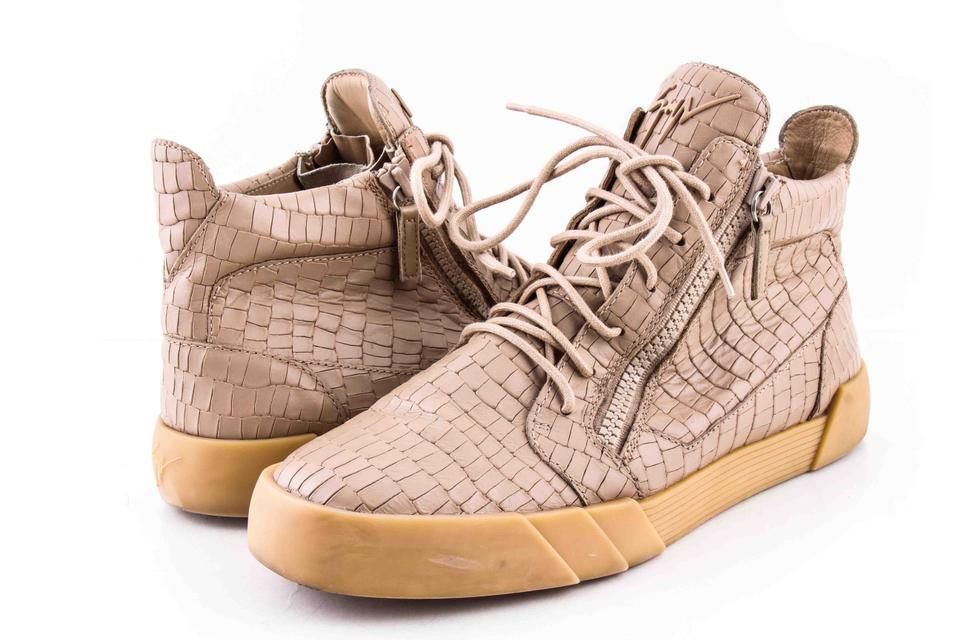 new arrival a305b 602dc Giuseppe Zanotti Beige Men's Croc-embossed Leather High-top Sneaker Shoes  28% off retail