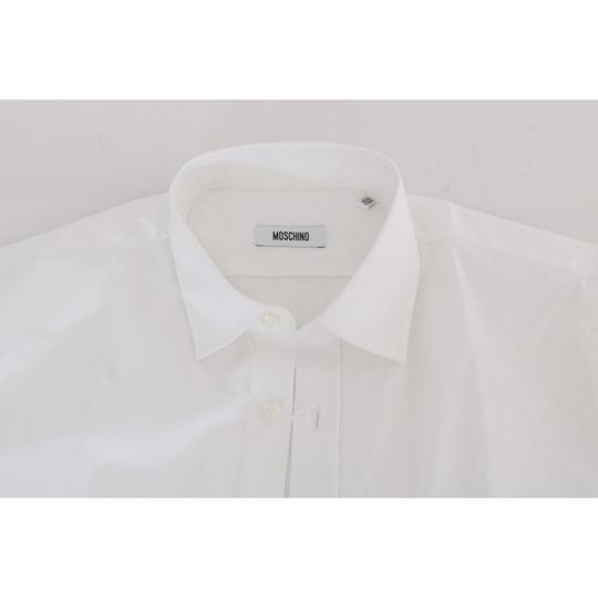Moschino White D1386-2 Cotton Stretch Slim Fit Dress (42) Shirt Image 5