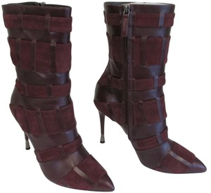 Tom Ford Stiletto Leather And Suede Wine Boots