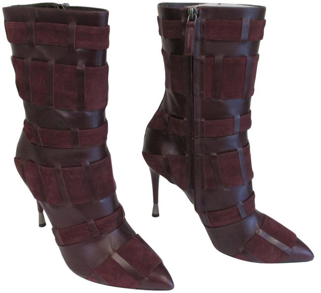 Item - Wine Kid Leather and Suede Stiletto Boots/Booties Size EU 39 (Approx. US 9) Regular (M, B)