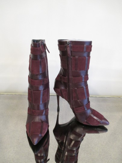 Tom Ford Stiletto Leather And Suede Wine Boots Image 1