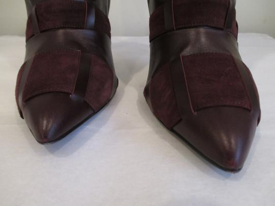 Tom Ford Stiletto Leather And Suede Wine Boots Image 2