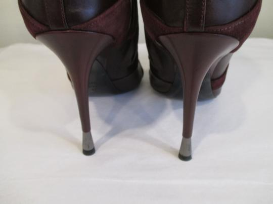 Tom Ford Stiletto Leather And Suede Wine Boots Image 3