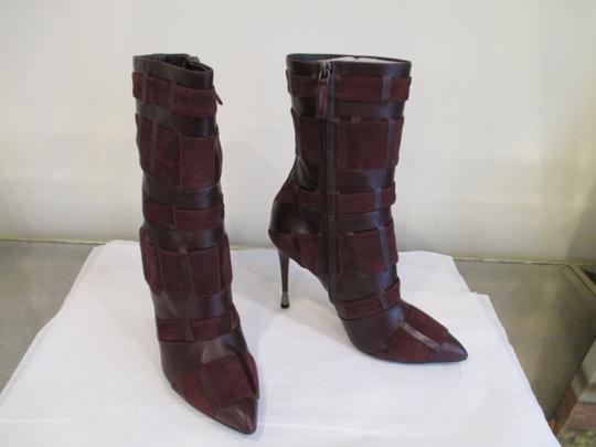 Tom Ford Stiletto Leather And Suede Wine Boots Image 4