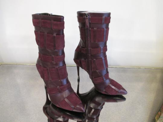 Tom Ford Stiletto Leather And Suede Wine Boots Image 5
