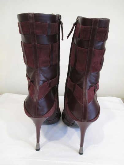 Tom Ford Stiletto Leather And Suede Wine Boots Image 6