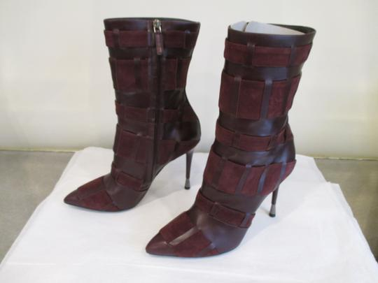 Tom Ford Stiletto Leather And Suede Wine Boots Image 7