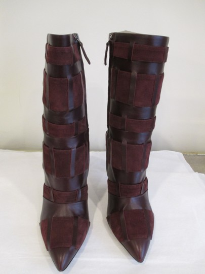 Tom Ford Stiletto Leather And Suede Wine Boots Image 8