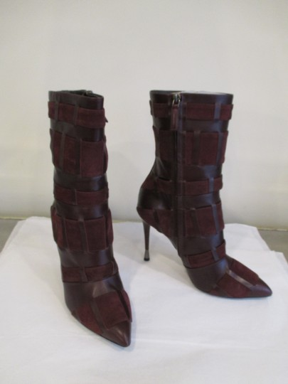 Tom Ford Stiletto Leather And Suede Wine Boots Image 9