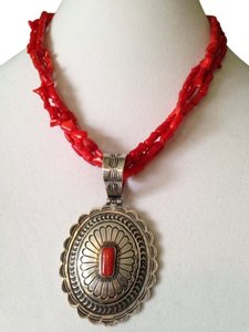 H. Ration Artisan Signed Red Coral & Sterling Silver Concha Necklace
