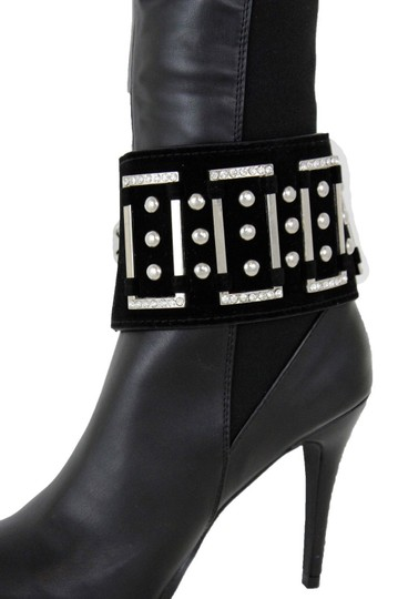 Alwaystyle4you Women Black Wide Strap Boot Bracelet Silver Metal Chain Anklet Shoe Bl Image 11