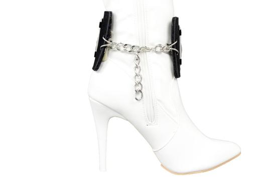 Alwaystyle4you Women Black Wide Strap Boot Bracelet Silver Metal Chain Anklet Shoe Bl Image 2
