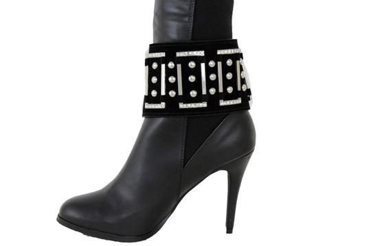 Alwaystyle4you Women Black Wide Strap Boot Bracelet Silver Metal Chain Anklet Shoe Bl Image 5