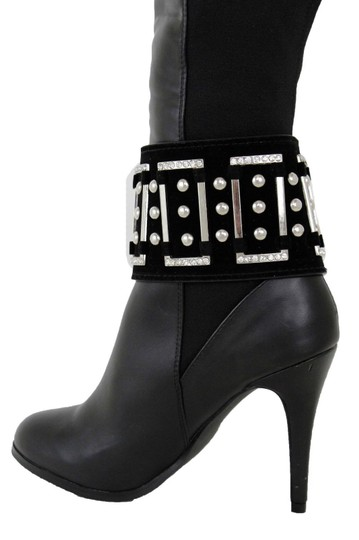 Alwaystyle4you Women Black Wide Strap Boot Bracelet Silver Metal Chain Anklet Shoe Bl Image 8