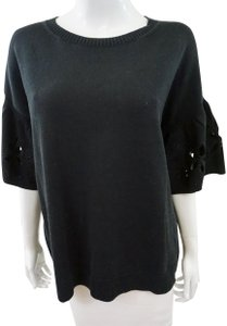 Chinti and Parker Cut Out Flower Top Black