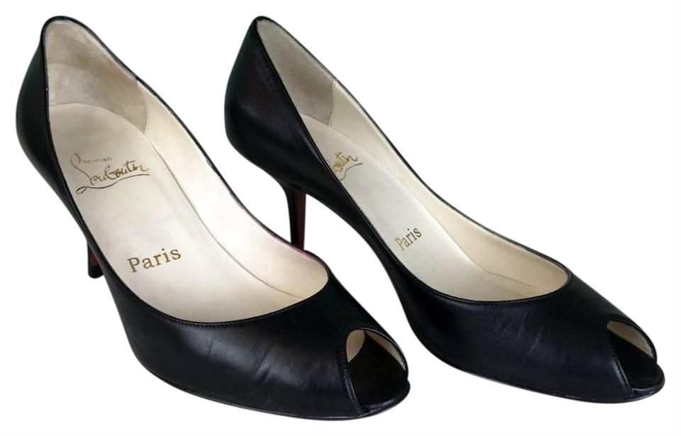 the best attitude 06e51 23eb4 Christian Louboutin Black Leather Yoyo Stiletto Peep Toe Heels Sale Pumps  Size EU 36.5 (Approx. US 6.5) Regular (M, B) 57% off retail