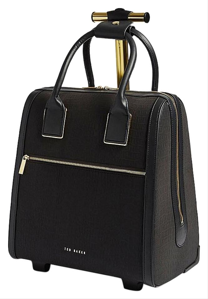 e85f2aea52c9 Ted Baker Polyester Carry On Suitcase Crocodile Embossed Reflective Black  Travel Bag Image 0 ...