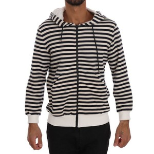 White / Blue D1339-4 Striped Hooded Cotton Sweater (Xl) Groomsman Gift