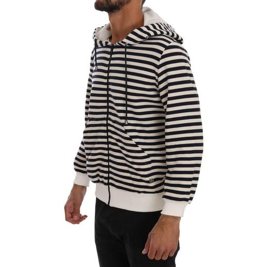 White / Blue D1339-4 Striped Hooded Cotton Sweater (Xl) Groomsman Gift Image 1