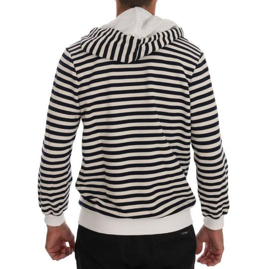 White / Blue D1339-4 Striped Hooded Cotton Sweater (Xl) Groomsman Gift Image 2