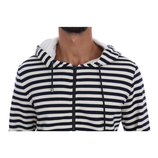 White / Blue D1339-4 Striped Hooded Cotton Sweater (Xl) Groomsman Gift Image 3