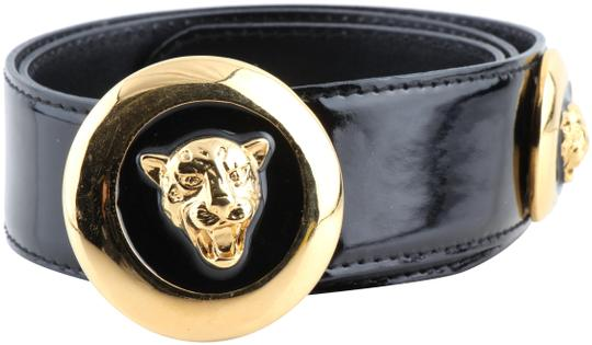 Preload https://img-static.tradesy.com/item/24562268/escada-black-vintage-patent-leather-gold-enamel-leopard-belt-0-1-540-540.jpg