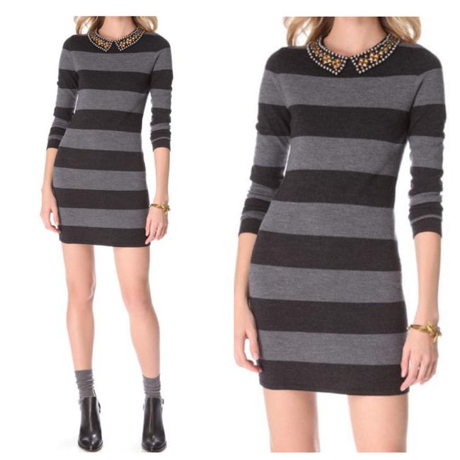 Item - Black Studded Collar Rugby Striped Sweater Short Casual Dress Size 8 (M)
