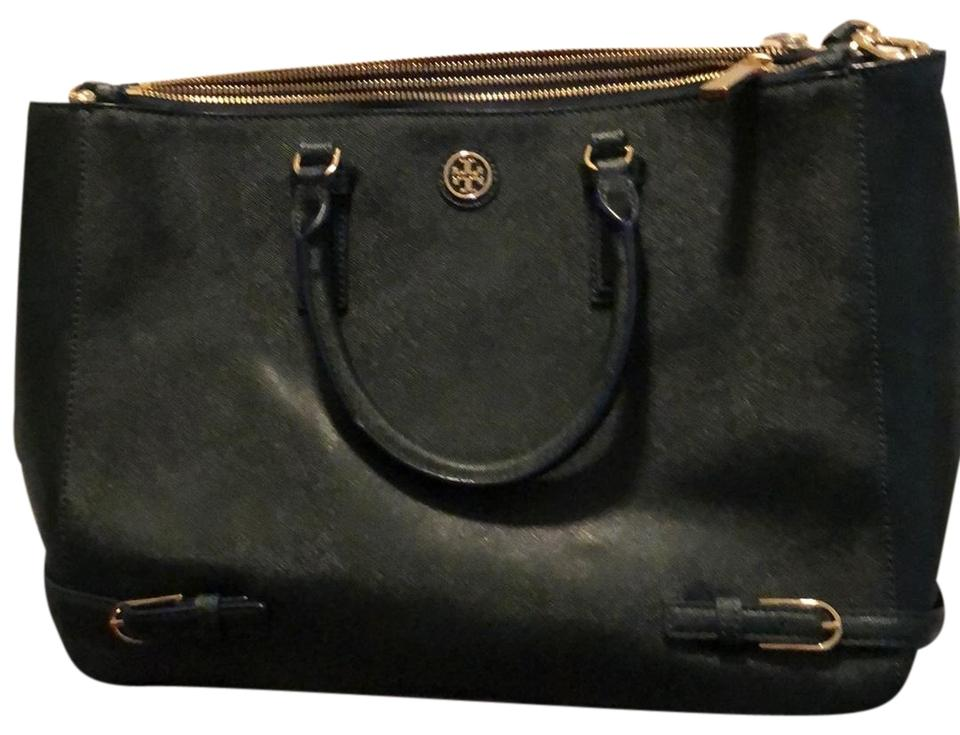 68a0a52fd2b8 Tory Burch Robinson Double Zip Pocket Forest Green Leather Satchel ...