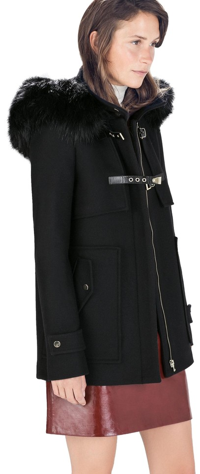 2a15d3db98 Zara Black Duffle XS With Collar Wool Jacket Coat Size 0 (XS) 62% off retail