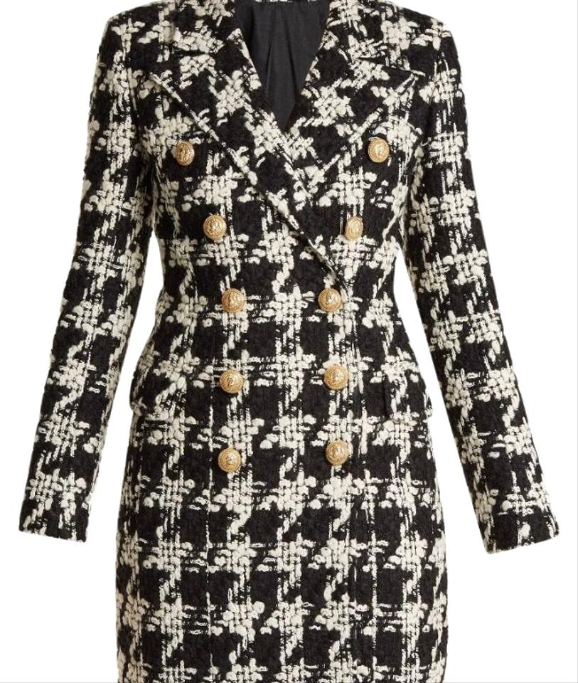 90f76445a Balmain Houndstooth Double Breasted Wool Tweed Coat Size 6 (S) 35% off  retail