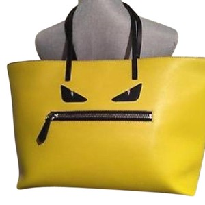 Fendi Monster Eye Roll Yellow Green Leather Tote - Tradesy