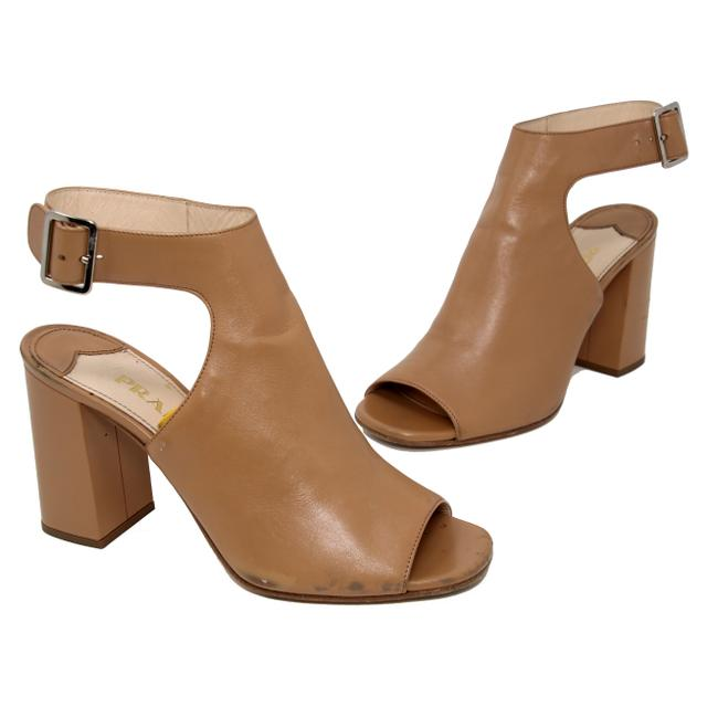 Item - Brown Classic Leather Open Toe Ankle Wrap Heel Boots/Booties Size US 7 Regular (M, B)