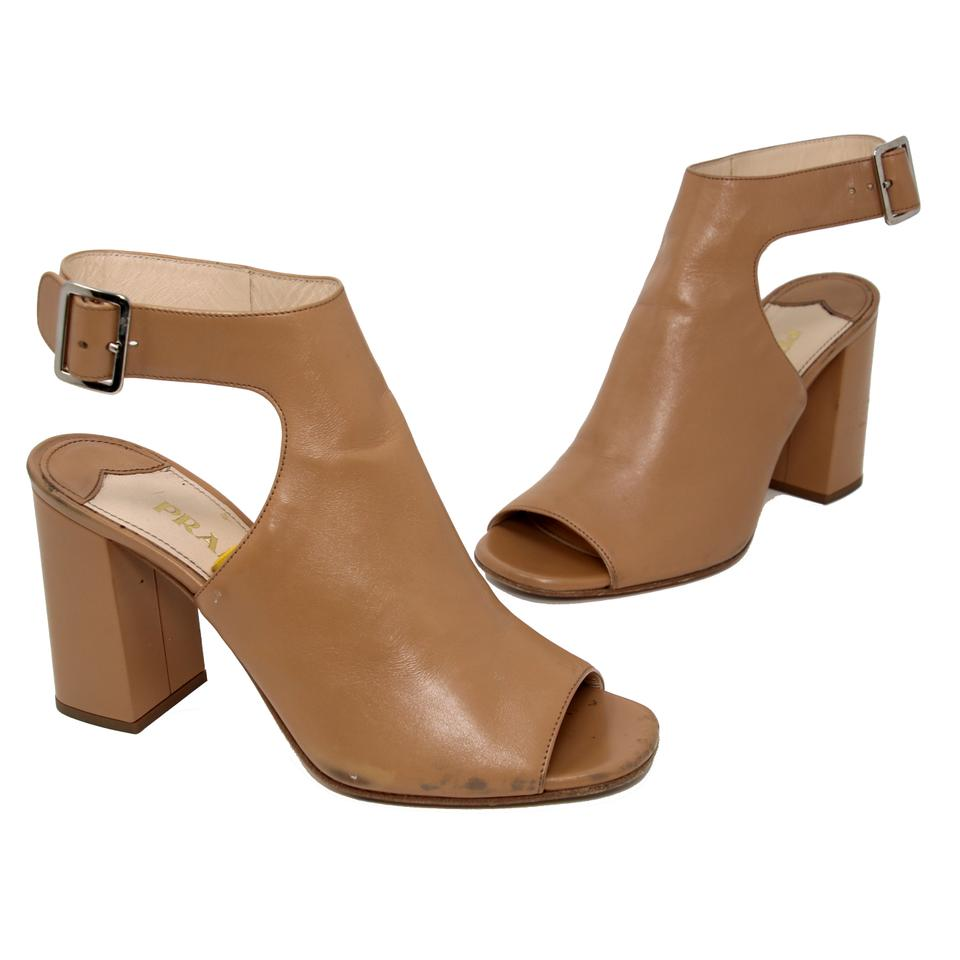 2c4b65d4432 Prada Brown Classic Leather Open Toe Ankle Wrap Heel Boots Booties ...