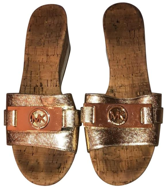Item - Tan and Gold Wedges Sandals Size US 8 Regular (M, B)