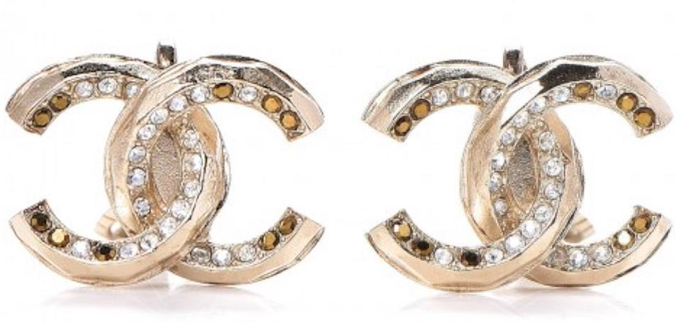 1e67a93abc541 Chanel Gold Crystal White Amber Cc Logo Clip On Clipon Clip-on Twisted  Textured Embellish 11a Earrings