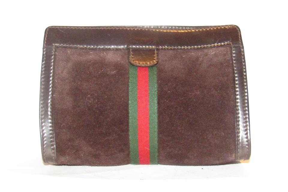 a47cfe9f37c7d7 Gucci Cosmetic Bag/Clutch Velcro Top Closure Excellent Vintage Suede/Leather  Red/Green ...