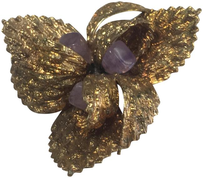 Item - Purple Stone Germany Gold Brooch Pin