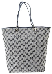 c7b04320e162 Gucci Mint Condition Graduated Shape Bold Gold Accents Canvas/Leather Tote  in navy blue large