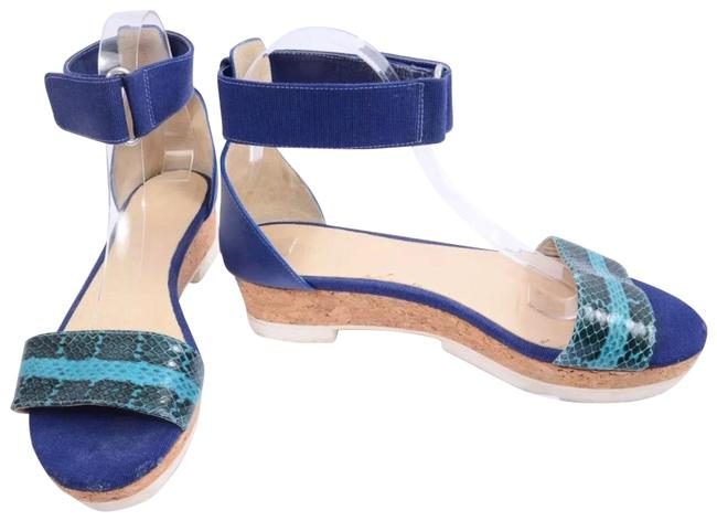 Item - Turquoise Near Sneak Skin Ankle Strap Wedges Size EU 40 (Approx. US 10) Regular (M, B)