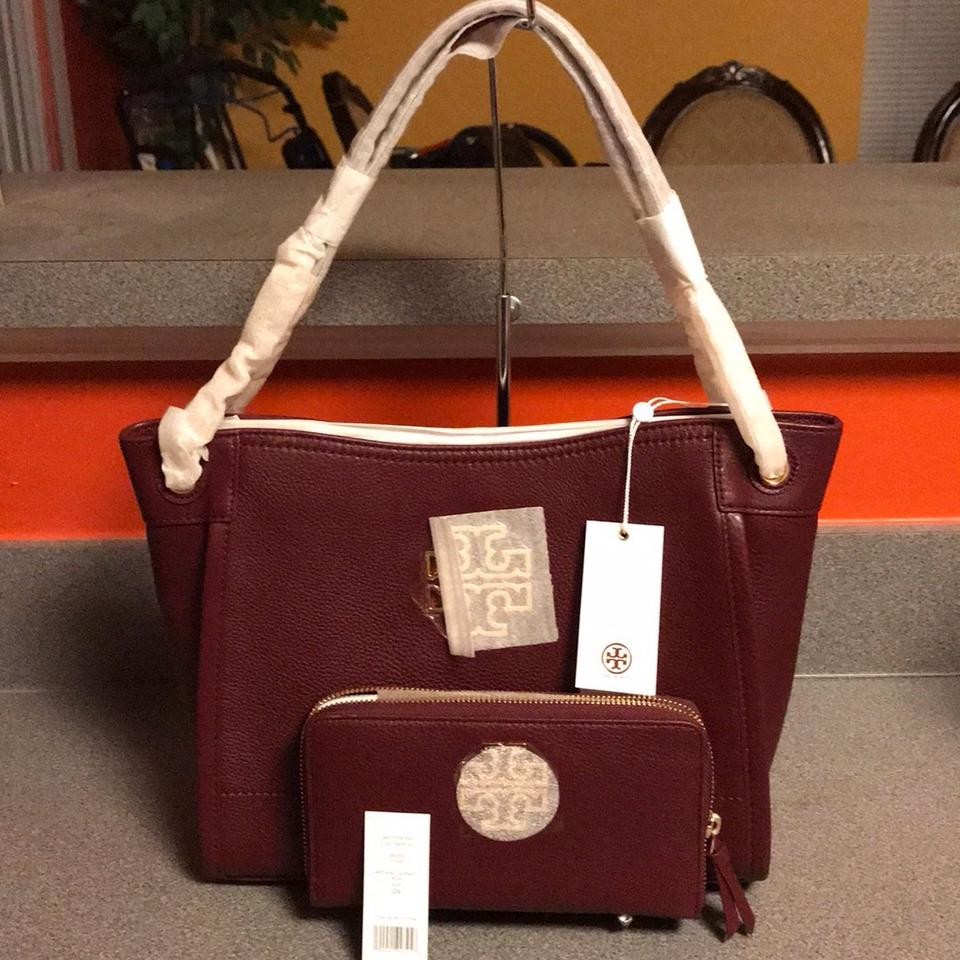 a7039f6f75a6 Tory Burch Britten New Small Slouchy Wallet Set Imperial Garnet Leather  Tote - Tradesy