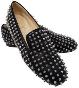 1e75b902f031 Christian Louboutin Rolling Spikes Studded Spike Silver Hardware  Embellished Black Flats
