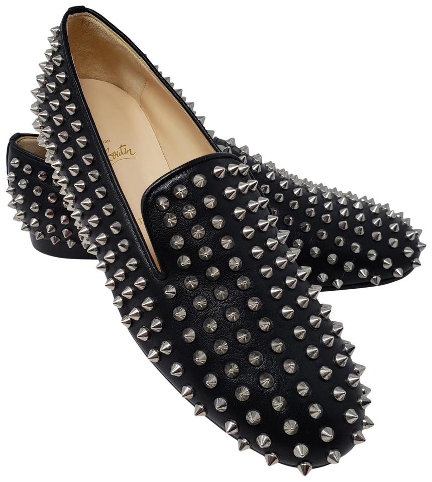 92235495cb10 Christian Louboutin Black Leather Nappa Rolling Spikes Loafers Flats ...