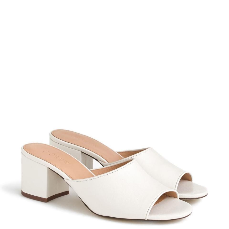 af58200b908e J.Crew White All Day Block Heel Leather 60mm Mules Slides Size US 6 ...